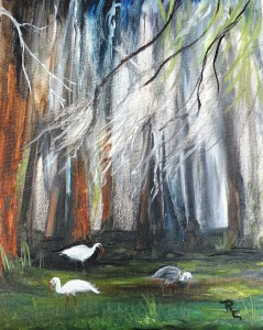 Live Oak with 3 birds