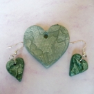 Earrings & Pendant Green Hearts