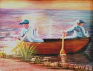 Boys in Canoe (Watercolor0 $125