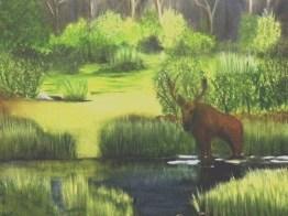 Moose in Water 2009 (294 Oil)