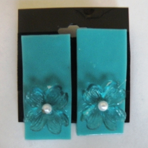 Earrings Glass Teal with Blue Flowers Pearl