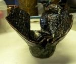 Raku Flouted Vase