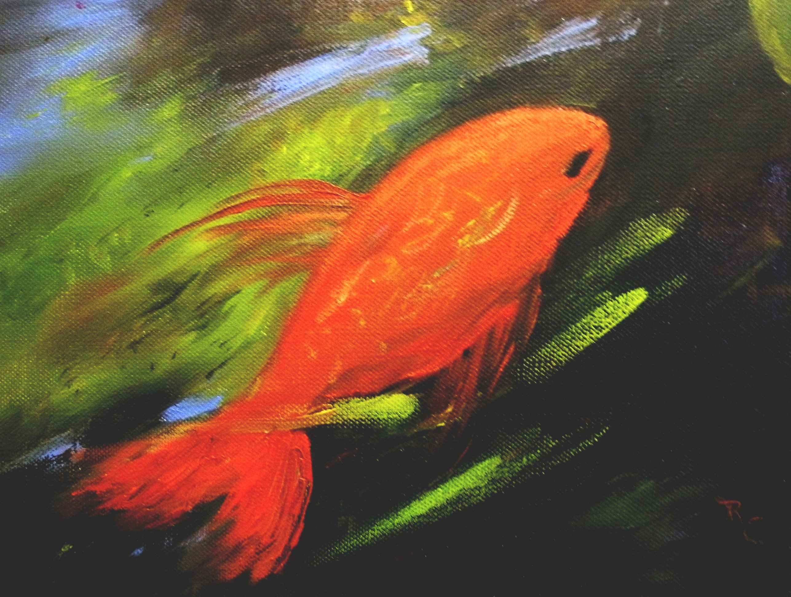 Swimming Upstream (Acrylic) $125