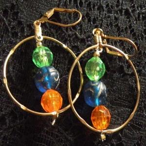 Earrings Orange Blue & Green
