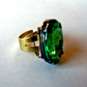 Ring Green Faceted Stone 1