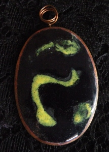Enamel Copper Necklacy Oval with Yellow