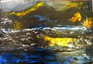 Sunset thru Rock Wall (Acrylic 8.5x11) $85