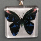 Pendant Glass Block Blue Butterfly