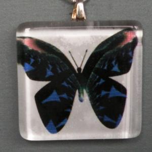 Pendant Glass Block Blue Butterfly