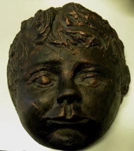 Sculpure Baby Face Terra Cotta Clay Bronze Finish