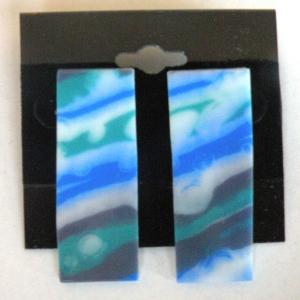 Earrings Glass Blues Diagonal