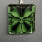 Pendant Glass Block Green & Black