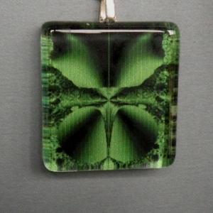 Pendant Glass Block Green & Black