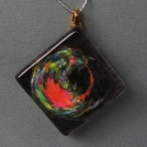 Pendant Glass Block Multi Colored Swirls