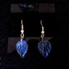 Earrings Blue Glass Leaves (Matching Necklace)