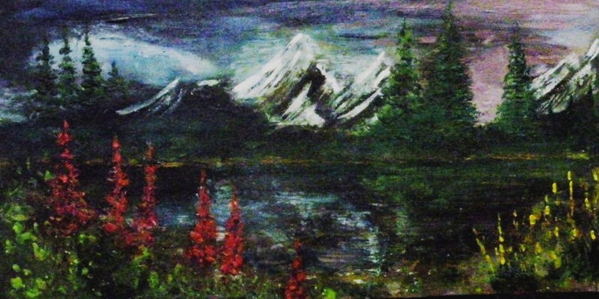 Encaustic --Snow on the Mountain in the Spring $250