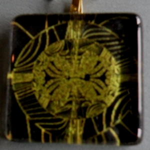 Pendant Glass Block Black Gold