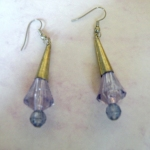 Earrings Purple & Brass