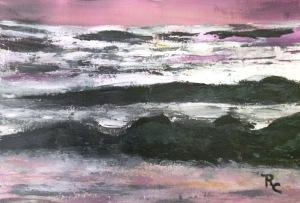 Sunset Waves (Acrylic 8.5x11) $85
