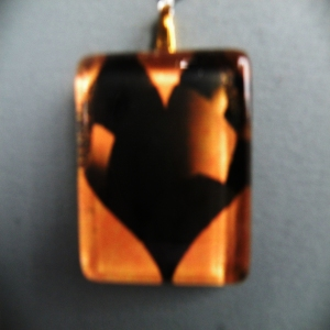 Pendant Glass Block Heart Orange