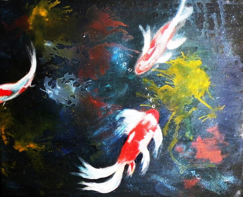 Three Koi Fish on Canvas