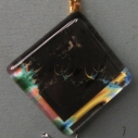 Pendant Glass Block Black with Colors on Border